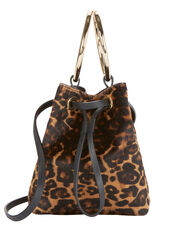 Haircalf Leopard Mini Bucket Crossbody Bag, PRINT, hi-res