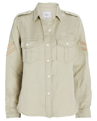 Conrad Military Button-Down Shirt, PALE OLIVE, hi-res