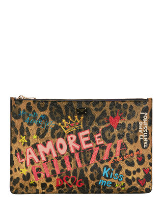 Murales Leopard Graffiti Clutch, MULTI, hi-res