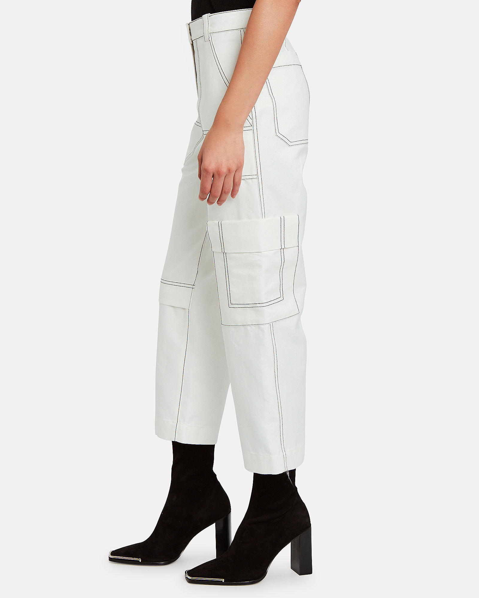 Cropped Cotton-Blend Twill Cargo Pants, WHITE, hi-res