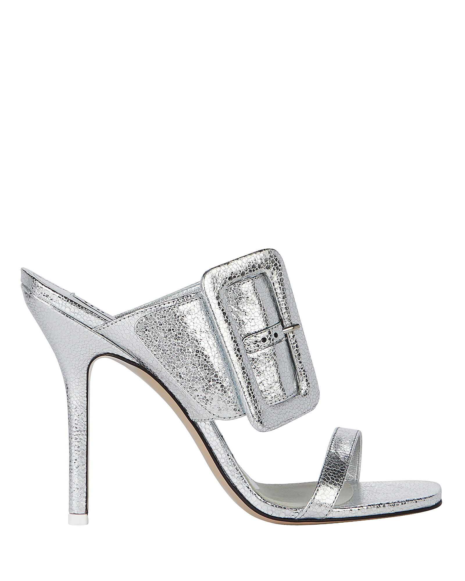 Mariah Snake-Embossed Buckle Sandals, SILVER, hi-res
