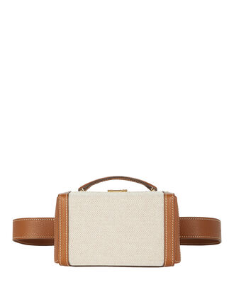 Grace Leather and Canvas Belt Bag, BEIGE, hi-res