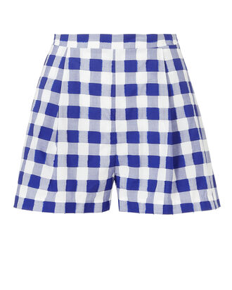 Pleated Check Shorts, NAVY, hi-res