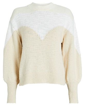 Avie Two-Tone Cotton-Blend Sweater, BEIGE/IVORY, hi-res