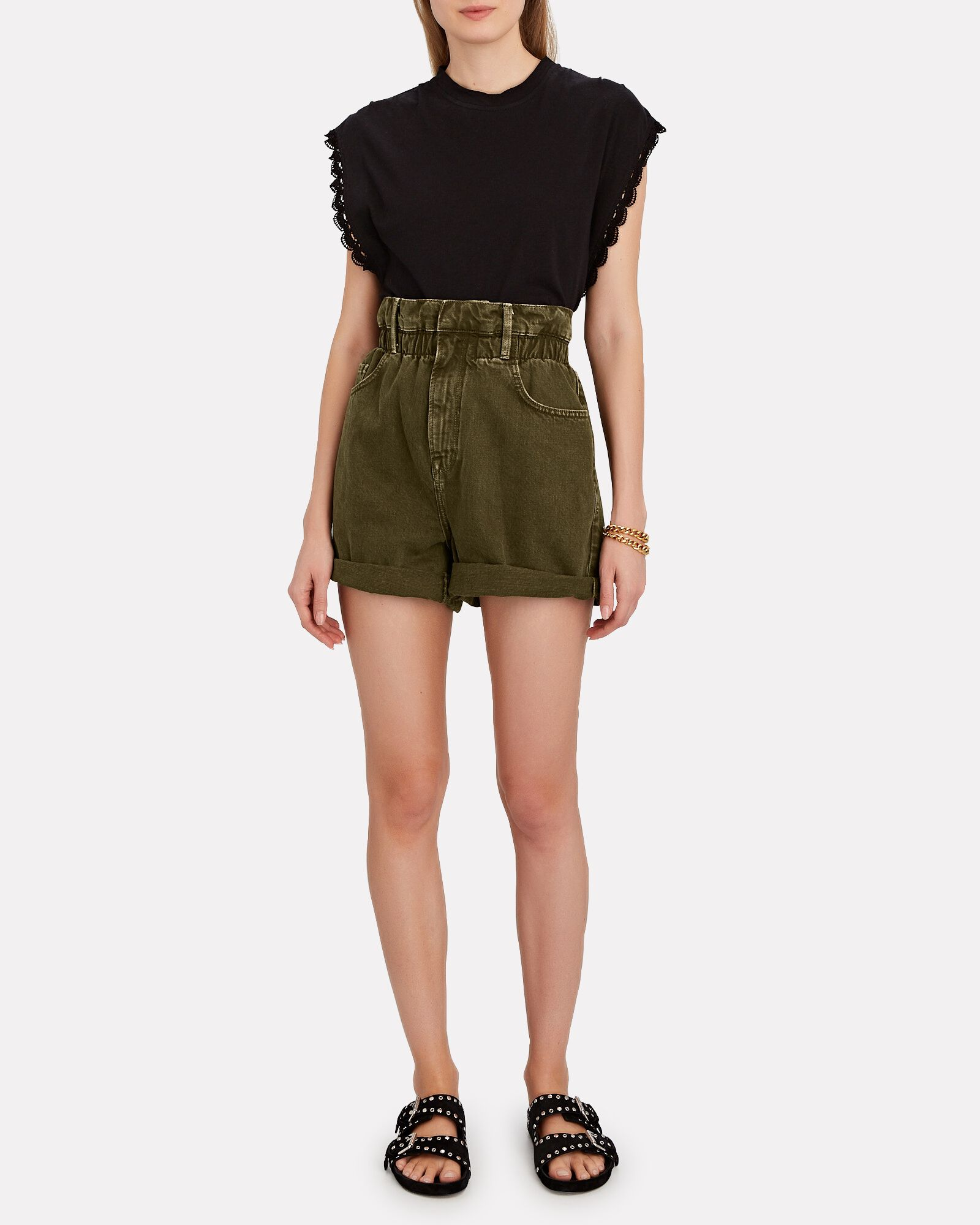 Denim Cuffed Paperbag Shorts, WASHED MOSS, hi-res