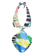 Printed Cut-Out One-Piece Swimsuit, MULTI, hi-res