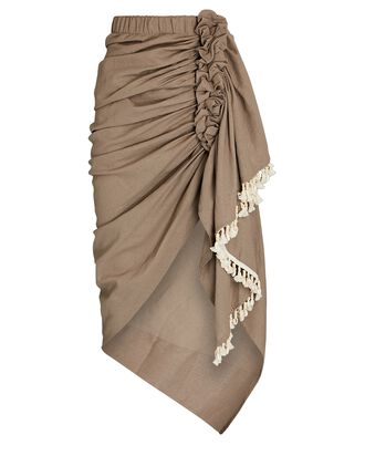 Tulum Ruched High-Low Skirt, BROWN, hi-res