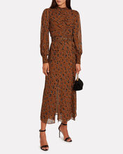 Leopard Georgette Ruched Dress, MULTI, hi-res