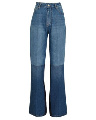 Patchwork Flared High-Rise Jeans, MEDIUM WASH DENIM, hi-res
