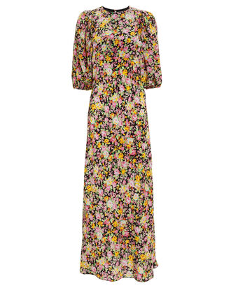 Bias Puff Sleeve Floral Dress, BLACK/FLORAL, hi-res
