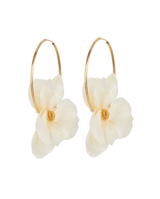 Apple Orchid Hoop Earrings, IVORY/GOLD, hi-res