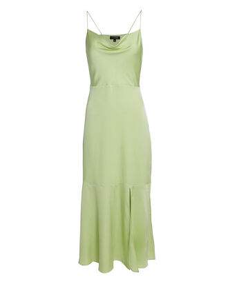 Paris Silk Slip Dress, GREEN, hi-res