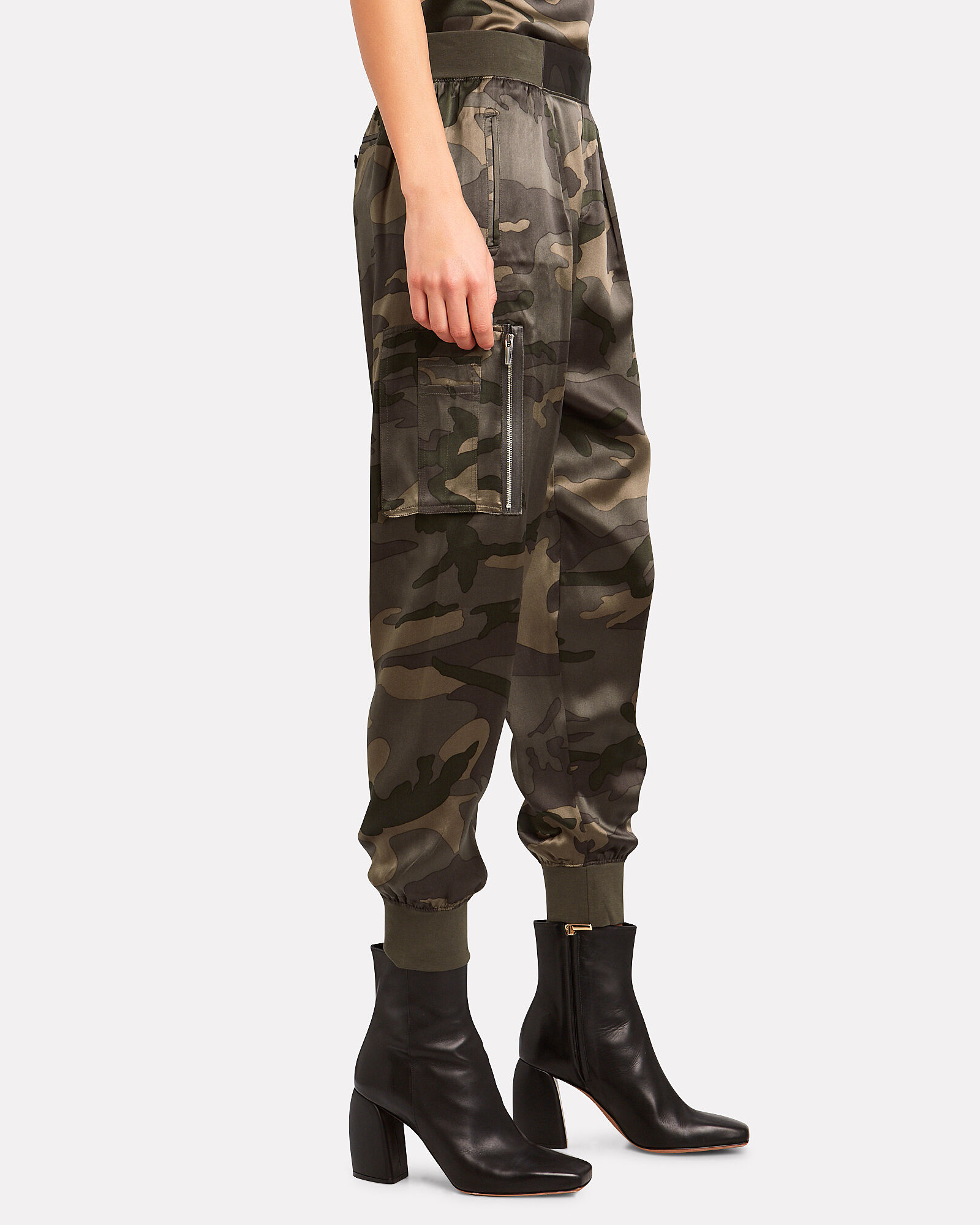 Camouflage Silk Cargo Pants, OLIVE/CAMO, hi-res