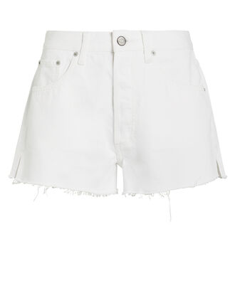 Cody Frayed Denim Shorts, WHITE, hi-res