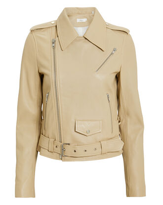 Dree Leather Jacket, BEIGE, hi-res