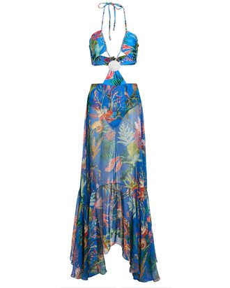Oasis Cut-Out Maxi Beach Dress, BLUE, hi-res
