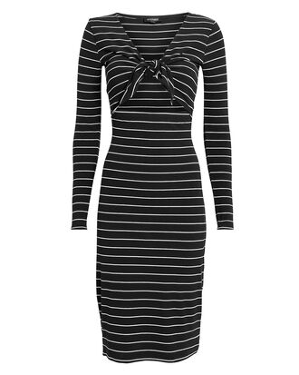 Lila Striped Dress, BLK/WHT, hi-res
