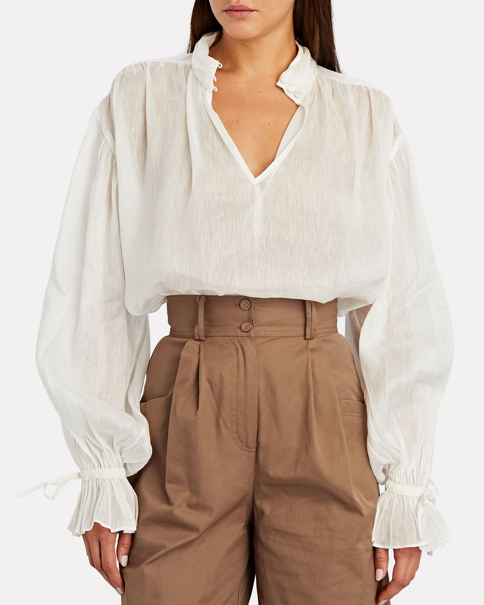 Grove Silk-Linen Blouson Sleeve Top, WHITE, hi-res