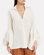 Cornetta Silk Blouse, WHITE, hi-res