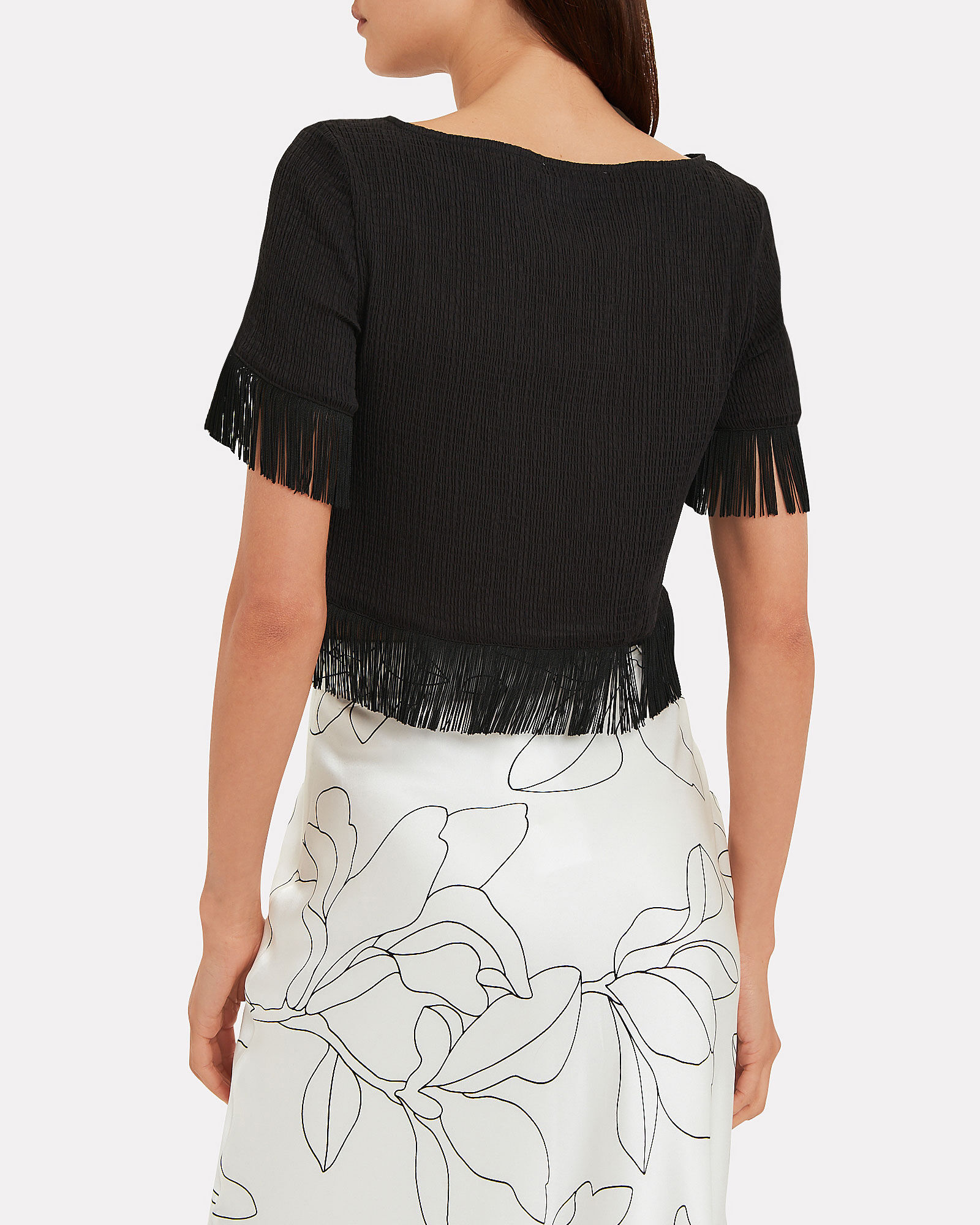 Seersucker Fringe Trim Top, BLACK, hi-res