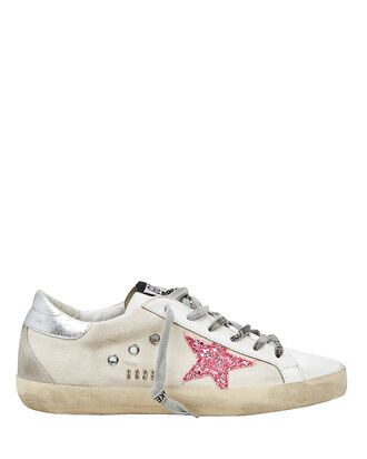 Superstar Pink Glitter Low-Top Sneakers, WHITE/SILVER/PINK, hi-res