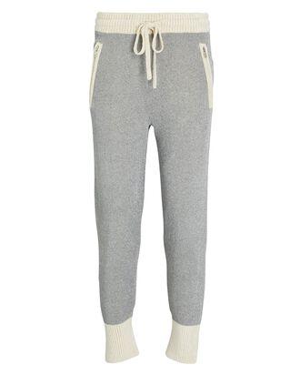 Double-Faced Lurex Knit Joggers, SILVER/IVORY, hi-res
