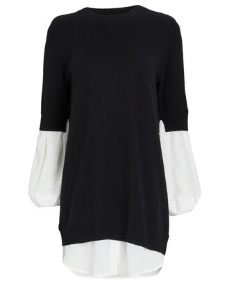 Ebella Layered Sweater Mini Dress, BLACK, hi-res