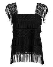 Black Fringed Top, BLACK, hi-res