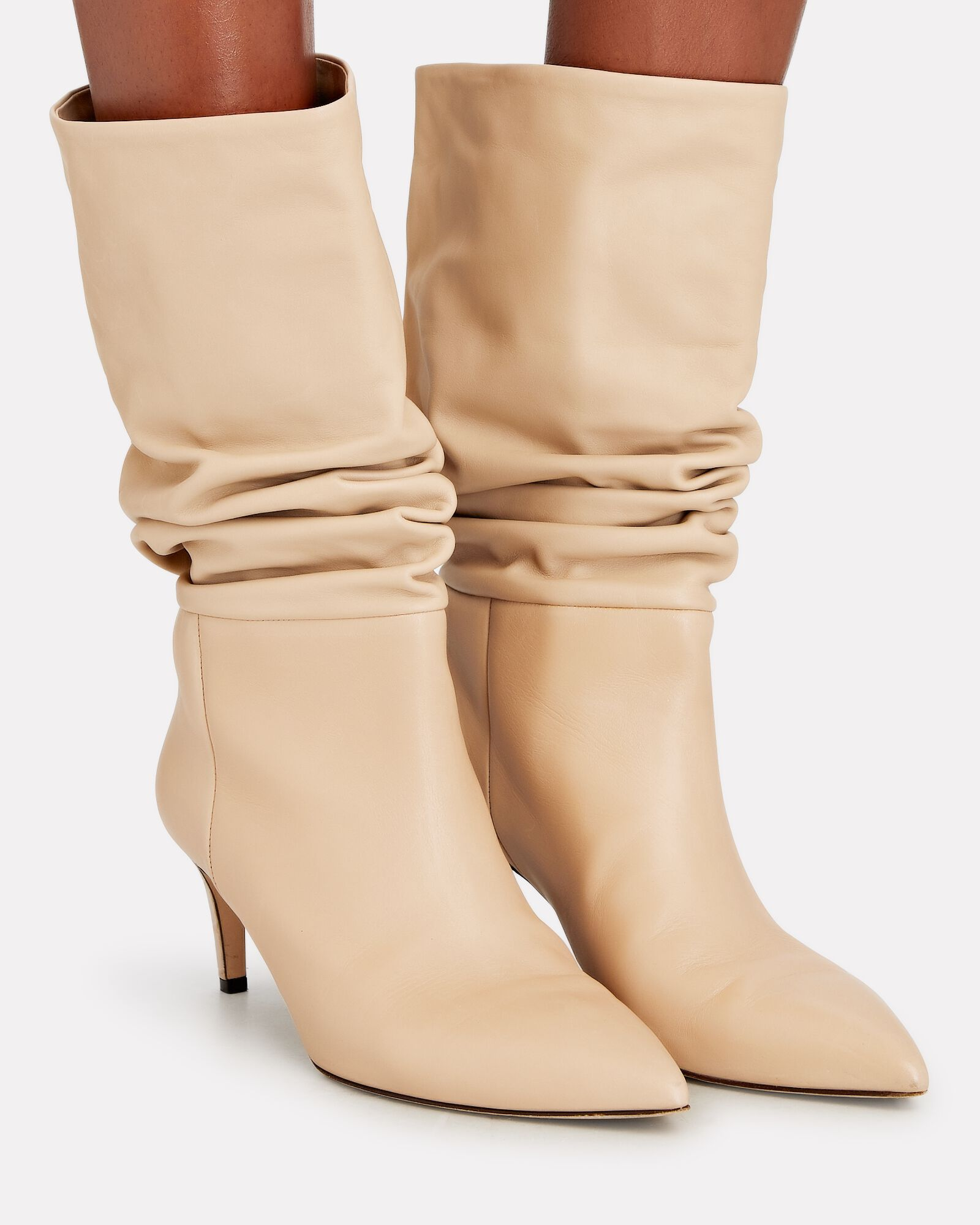 Slouch Leather Ankle Boots, BEIGE, hi-res