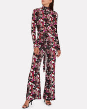 High-Rise Kick Flare Trousers, PINK/ABSTRACT PRINT, hi-res