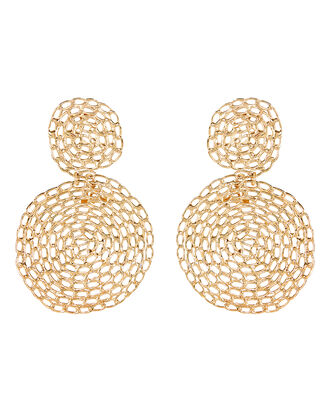 Onde Gourmette Lace Circle Earrings, GOLD, hi-res