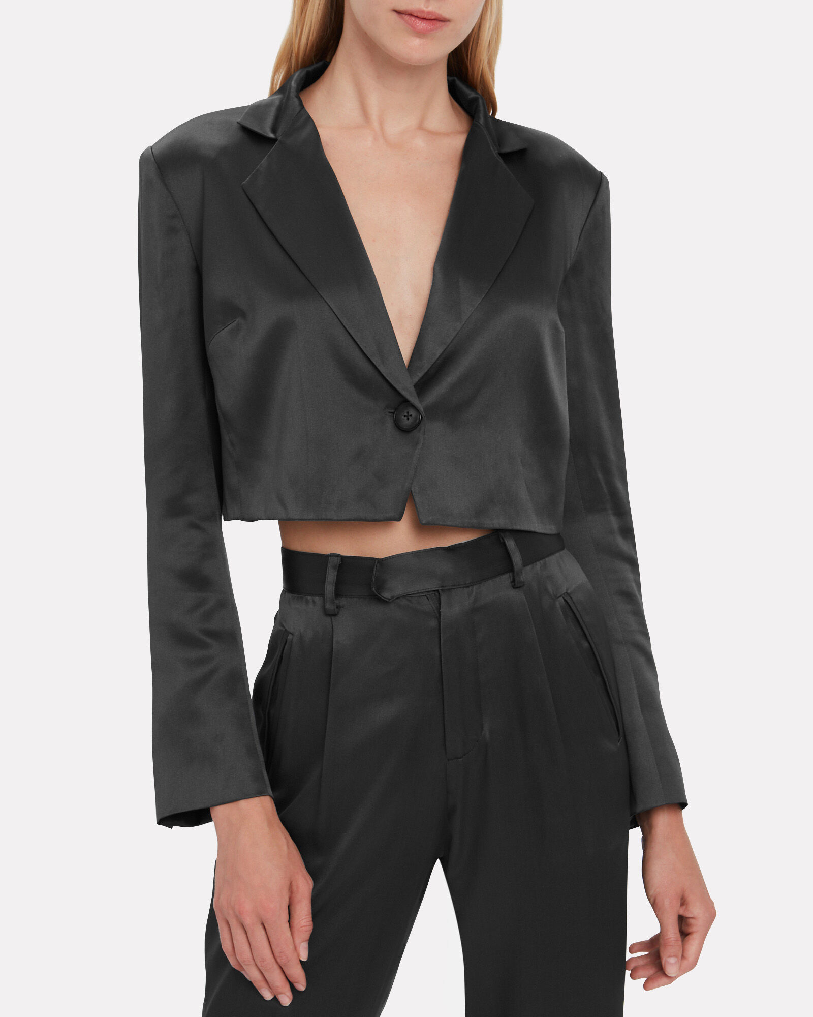 Satin Cropped Blazer, BLACK, hi-res