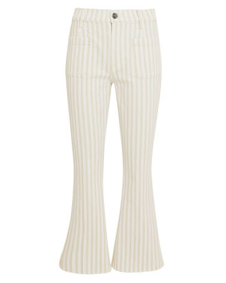 Le Bardot Striped Crop Flare Jeans, WHITE/BEIGE, hi-res