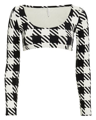 Colette Long Sleeve Bikini Top, BLACK/WHITE, hi-res