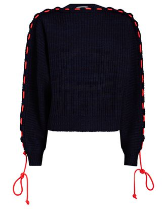 Gathered Cord Oversized Sweater, NAVY, hi-res