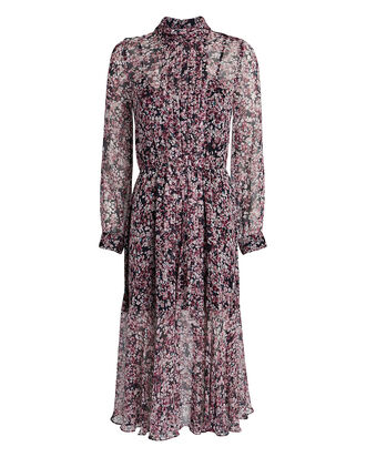 Selena Silk Floral Pleated Dress, MULTI, hi-res