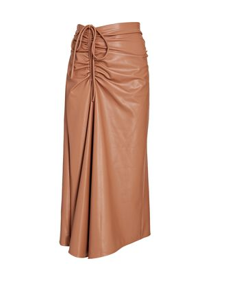 Orly Ruched Vegan Leather Midi Skirt, LIGHT BROWN, hi-res