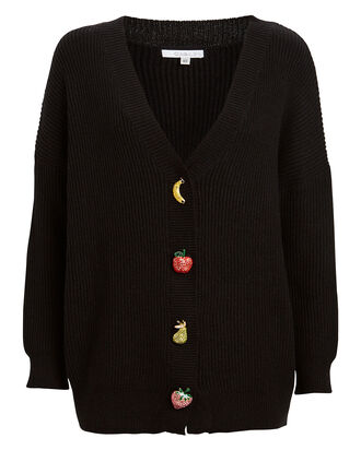 Frankie Fruit Gems Ribbed Cardigan, BLACK, hi-res