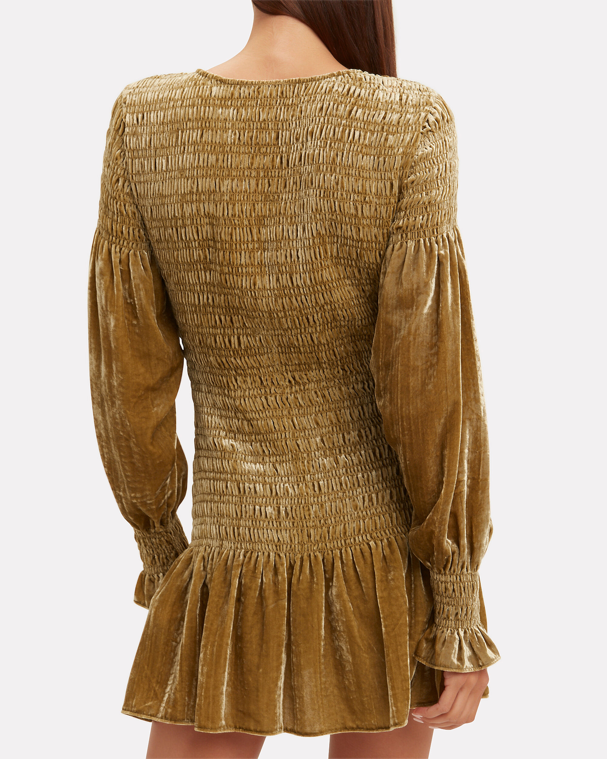 Scarlett Smocked Velvet Dress, GOLD, hi-res