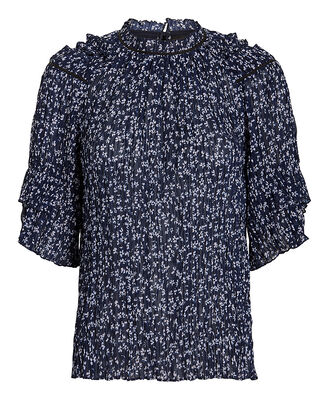 Cora Blouse, DARK FLORAL/NAVY, hi-res
