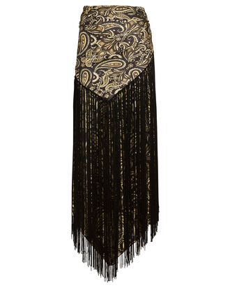 Nala Fringed Paisley Handkerchief Skirt, PALE YELLOW/BLACK, hi-res
