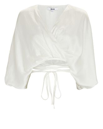 Cecile Cropped Silk Tie Blouse, WHITE, hi-res