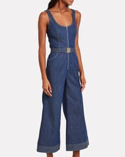 Bristol Chambray Flared Jumpsuit, DENIM, hi-res