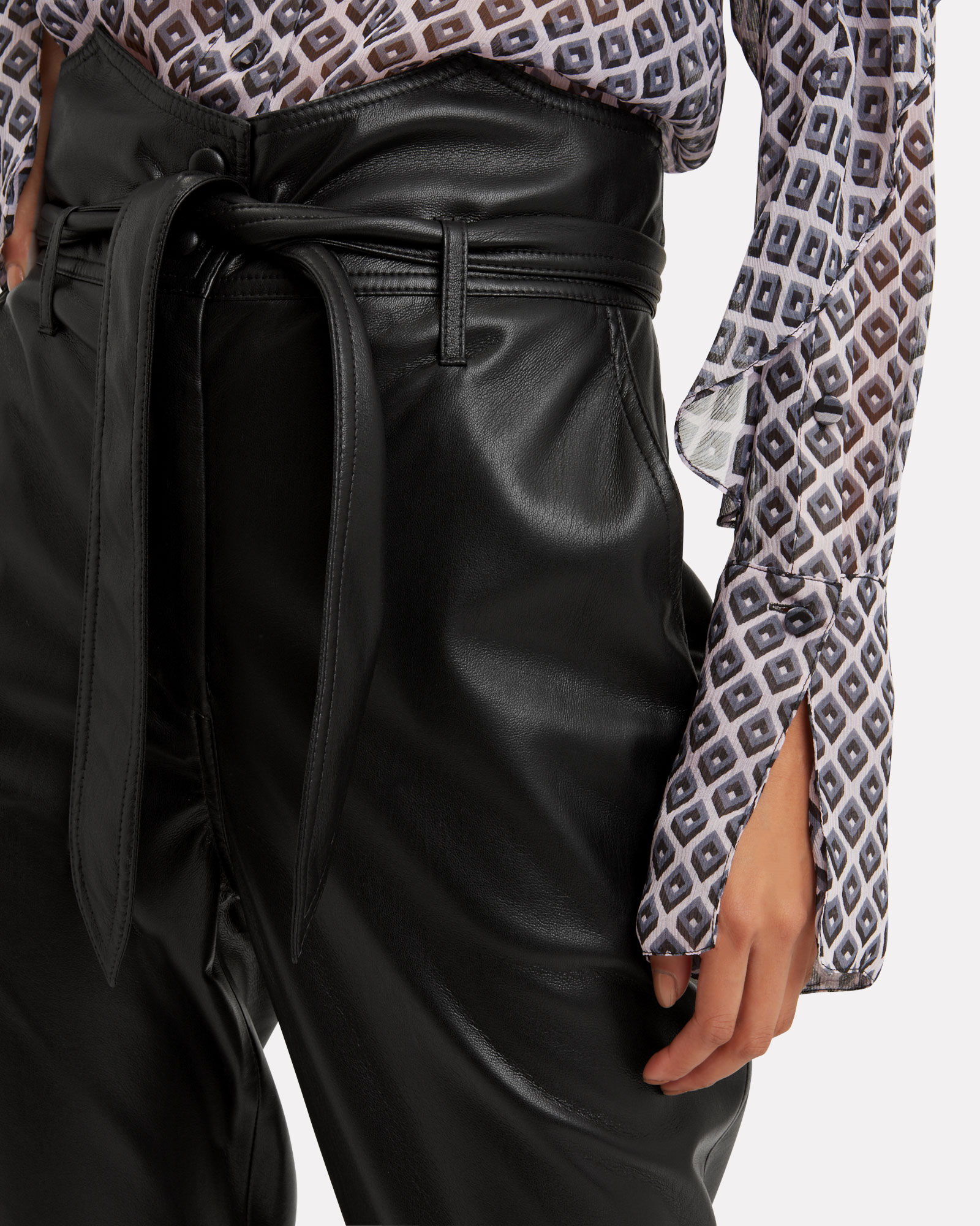Ethan Tailored Vegan Leather Pants, BLACK, hi-res