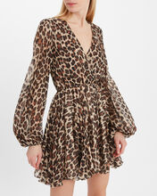 Olena Silk Leopard Dress, LEOPARD, hi-res