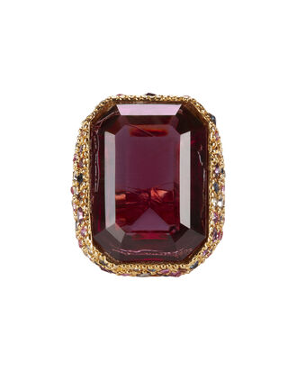 Red Crystal Cocktail Ring, RED, hi-res