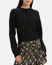 Mia Distressed Cropped Sweater, BLACK, hi-res