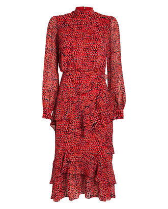 Isa Ruffled Chiffon Dress, RED/POLKA DOT, hi-res