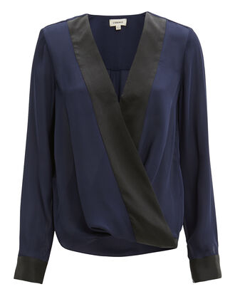 Kyla Contrast Draped Blouse, BLUE-MED, hi-res
