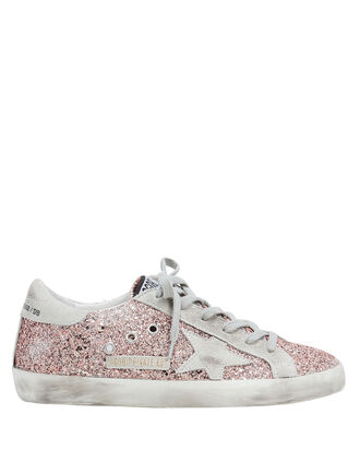 Superstar Rose Gold Glitter Low-Top Sneakers, GOLD, hi-res